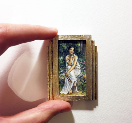 Art Deco painting, watercolor on synthetic ivory