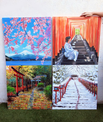 The four seasons mural with Japanese theme 140x140 cm