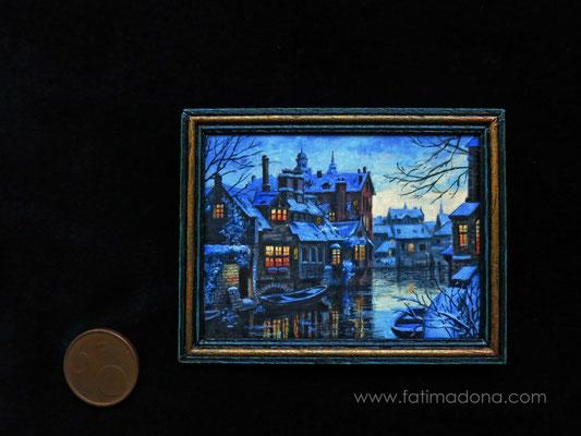 Brujas, óleo 7,6x7 cm, marco de madera hecho a mano
