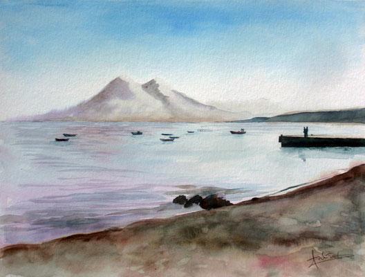 Sunset at Isleta del Moro, watercolor