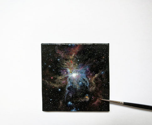 Retrato de nebulosa, óleo 7,8x7,8 cm