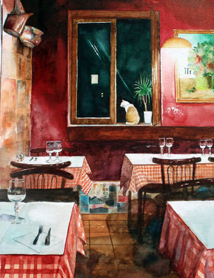 Chez Marie, watercolor 31x41cm