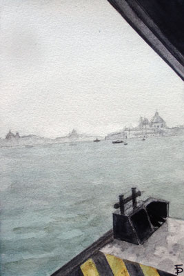 Venice view from Murano on a rainy day, watercolor postcard size 10x15cm