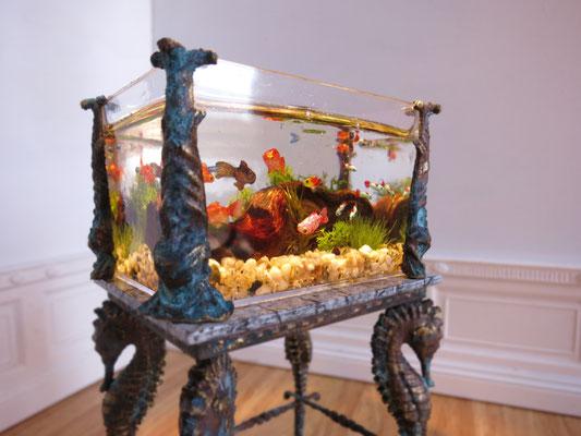 Vintage aquarium, inspired in Art Nouveau aquariums form 1920