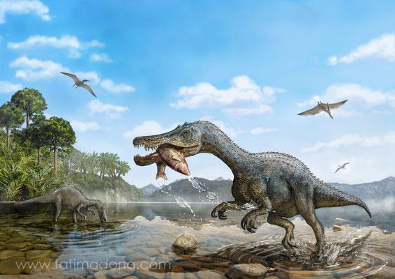 Digital Illustration Baryonyx Dinosaur