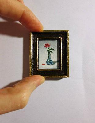 Rosa en jarrón de cristal, óleo sobre lienzo, marco de madera hecho a mano decorado con pan de oro 3,6x4,5 cm