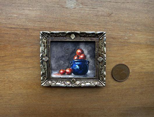 Bodegón con naranjas, acuarela 4,8x5,8 cm