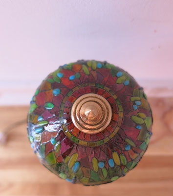 """Tiffany lamp miniature  designed and created by me, real bronze metal. inspired by the piece """"Hanging head Dragonfly"""" 1906 Art Institute of Chicago"""