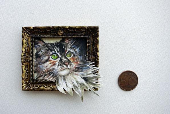 Gatita (retrato de mascota), acuarela 3,7x3,1 cm