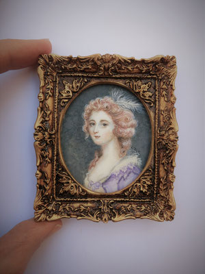 Lady with curled and pink powdered hair, after John Smart of 1785, watercolor on synthetic ivory