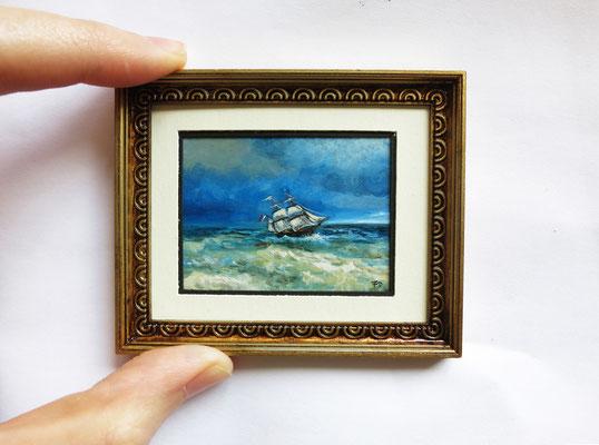 """Ship"" after Ivan-Konstantinovich-Aivazovsky. Miniature 1:12, oil 4,8x5,8 cm"