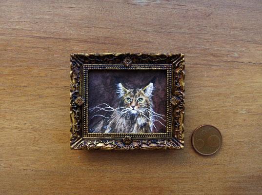 Gato montés, acuarela 4,8x5,8 cm