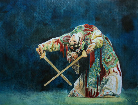 Nuit de Beijing, watercolor 30x20 cm