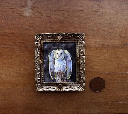 Lechuza, acuarela 4,8x5,8 cm