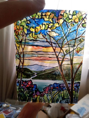 Vidriera Magnolias and Irises, estilo Tiffany, cristal pintado 6,2x9 cm