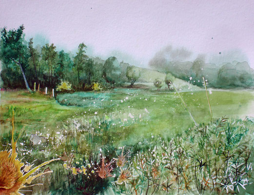Fog at dawn, watercolor