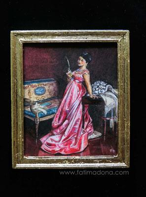The admiring Glance, watercolour 7,5x9 cm , handmade frame