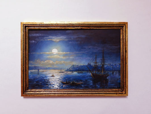 View of Constantinople in moonlight, after Ivan Aivazovsky 1890 oil on ivorine