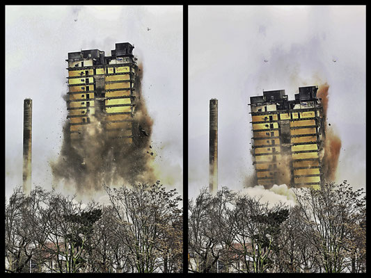 AFE ade (3v4) Der 116 Meter hohe Universitätsturm in Frankfurt steht nicht mehr, Fachleute haben ihn gesprengt. Es ist das höchste Gebäude in Europa, das je dem Erdboden gleich gemacht wurde.