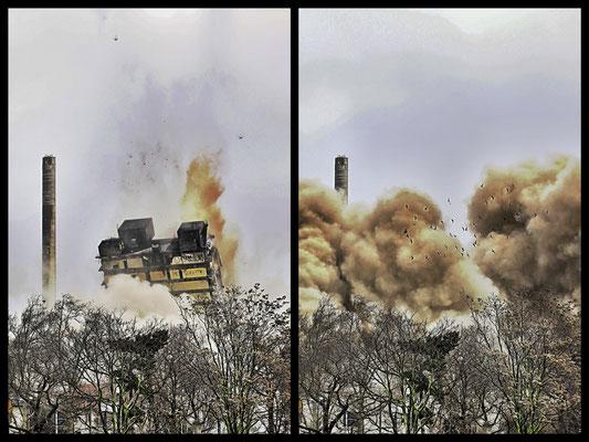AFE ade (4v4) Der 116 Meter hohe Universitätsturm in Frankfurt steht nicht mehr, Fachleute haben ihn gesprengt. Es ist das höchste Gebäude in Europa, das je dem Erdboden gleich gemacht wurde.