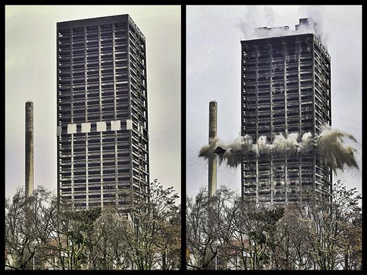 AFE ade (1v4) Der 116 Meter hohe Universitätsturm in Frankfurt steht nicht mehr, Fachleute haben ihn gesprengt. Es ist das höchste Gebäude in Europa, das je dem Erdboden gleich gemacht wurde.