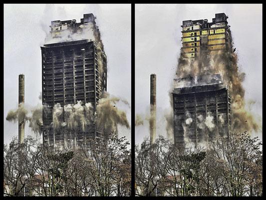 AFE ade (2v4) Der 116 Meter hohe Universitätsturm in Frankfurt steht nicht mehr, Fachleute haben ihn gesprengt. Es ist das höchste Gebäude in Europa, das je dem Erdboden gleich gemacht wurde.