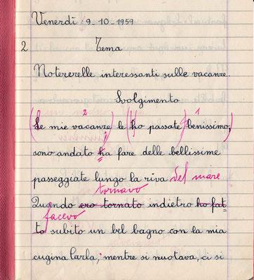 Quaderno di 4^ elementare, 1959, provenienza: Toscana.