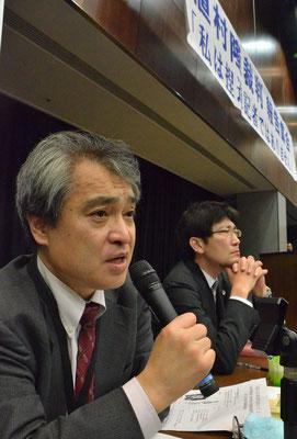 第1回口頭弁論後の記者会見 植村隆氏 2015.4.27