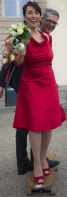 """rotes Brautkleid aus Seide """"Sternentanz"""""""