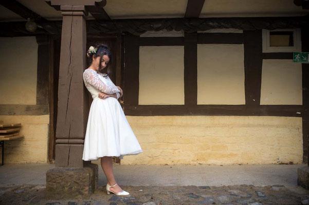 """kurzer Brautrock """"Ima"""" - Brautkleid Zweiteiler für das Standesamt"""