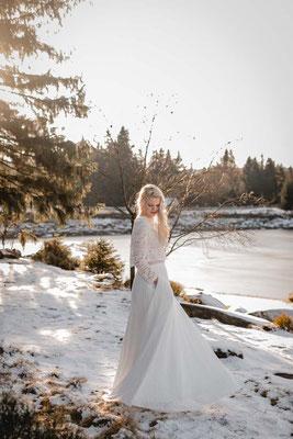 Bio Brautkleid Zweiteiler aus Biobaumwolle - nachhaltig, vegan und fairtrade