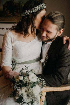 """Hochzeitskleid aus Baumwolle mit Spitze und Ärmeln """"Sonnentochter"""""""