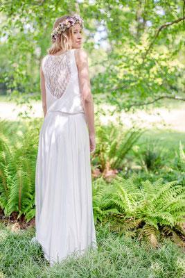 Brautkleid Zweiteiler im Boho Stil - Spitzentop mit weich fallendem Satinrock