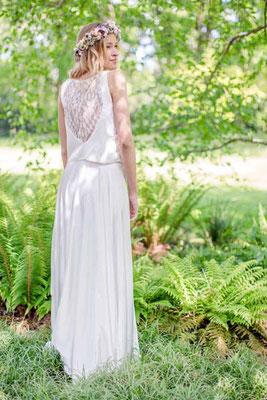 moderner Brautkleid Zweiteiler mit Spitzentop