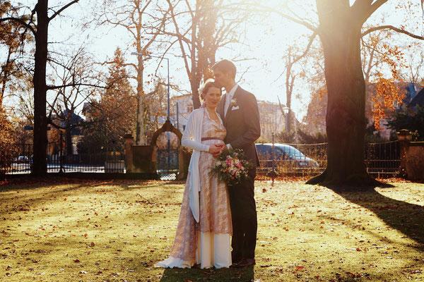 """Hochzeitskleid """"Sternenfee"""" mit Spitze in nude"""