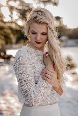Bio Brautkleid Zweiteiler aus Baumwollspitze - nachhaltig, vegan und fairtrade