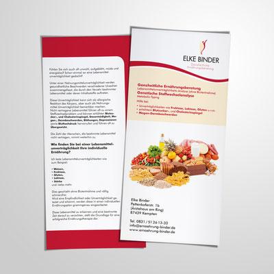 Gestaltung eines Flyers 2-seitig, DinLang hoch, für Ulrike Binder aus Kempten | Ernährungsberatung