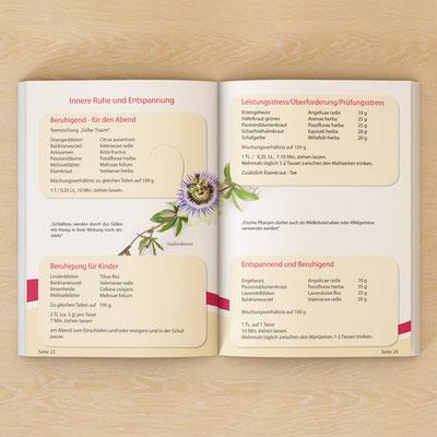 Gestaltung und Satz eines Buches - Innenteil (Einfache Wildkräutertees neu entdecken) für Ulrike Binder aus Kempten | Ernährungsberatung