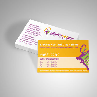 Gestaltung von Visitenkarten für den Frauennotruf in Kempten