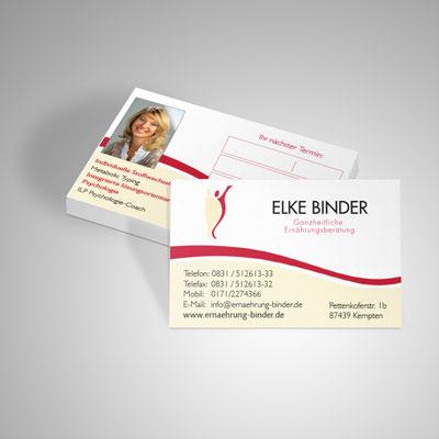 Gestaltung von Visitenkarten für Ulrike Binder aus Kempten | Ernährungsberatung