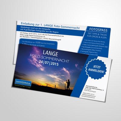 Gestaltung eines Flyer 2-seitig, DinLang quer, für die LANGE Fotonacht