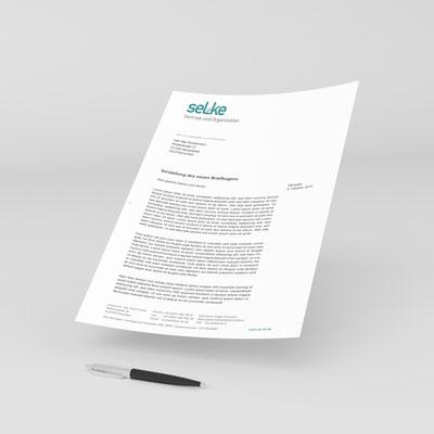 Gestaltung von Briefpapier für Selke e.K. aus Kempten
