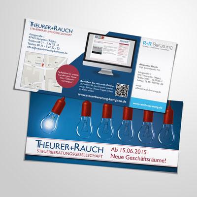 Gestaltung eines Flyer 2-seitig, DinLang quer, für die Steuerkanzlei Theurer & Rauch aus Kempten