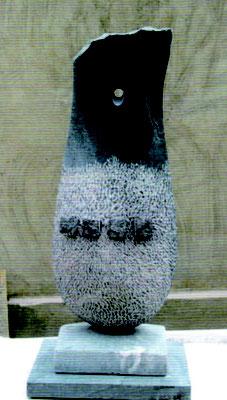 山本明良 「夜と月」黒大理石  W22 H60 D18 ㎝「衝撃の4 人展」