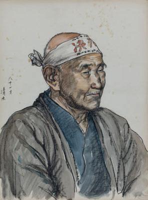 新海覚雄《八十一才 清水》1955-56年 立川市歴史民俗資料館蔵