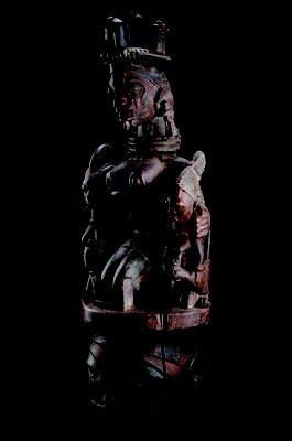 頭上面「エパ」  ナイジェリア ヨルバ 木に着彩 高さ1130mm