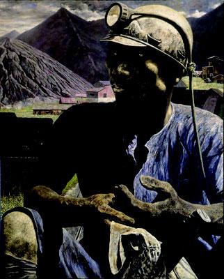「炭鉱の男」1969年 F100号