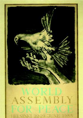 1955年7月ヘルシンキで開かれた平和のための世界大会のポスターを縮写したもので、スイスの画家ハンス・エルニ(1909年生)の作。