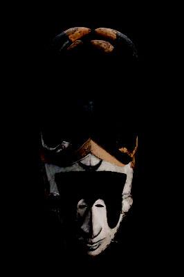 マスク 「アボゴ・ムオ」  ナイジェリア イボ 木に着彩 長さ430mm