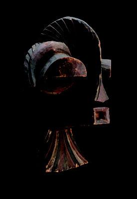 マスク「キフェベ」  コンゴ民主共和国 ソンゲ 木に着彩 長さ520mm